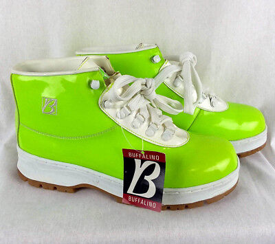 Shiny Lime Green High Top Womens 9 Boots Punk Hip Hop Hiking Lace Up Buffalino  - Lime Green Boots