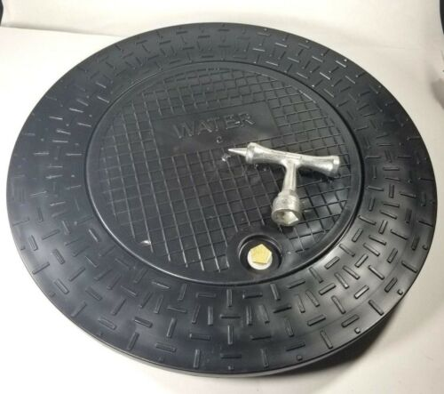 """Plastic Water Meter Box Cover/Ring w/12.5"""" locking lid for 18"""" Pipe, W/ Hand Key"""