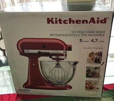 KitchenAid 5 Quart Tilt-Head Stand Mixer with Glass Bowl, KSM105GB Red Empire