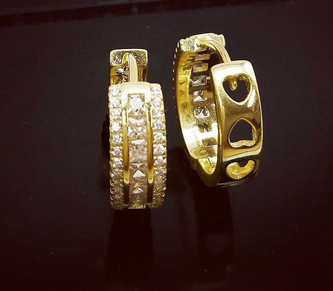 1 Ct Diamond Hoop Earrings Women Hoop Earrings 14K White Yellow Gold over 3