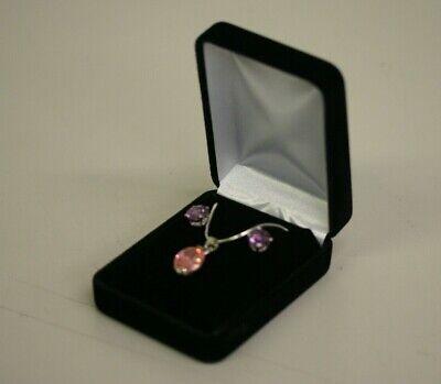 Black Velvet Earring Pendant Necklace Chain Jewelry Gift Box Case with White Box Velvet Pendant Earring Box