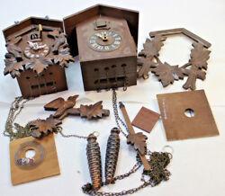 2 Black forest German cuckoo clocks carved bird pinecone weights parts? Working?