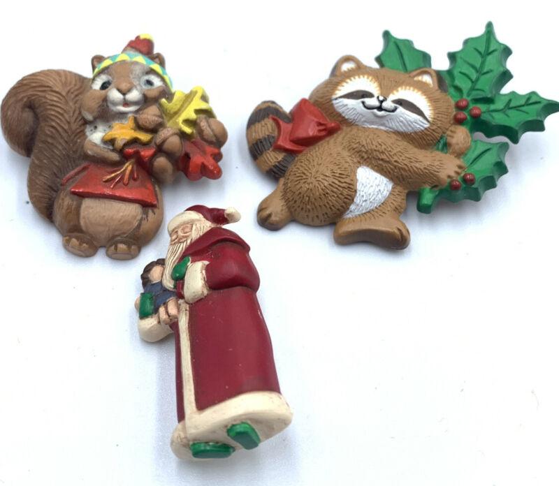 3 Vtg 1986 1987 Hallmark Brooches Resin & Metal Christmas PINs Raccoon Squirrel