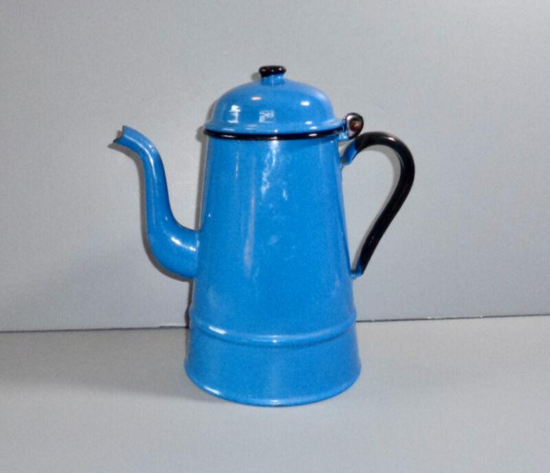 ANTIQUE BLUE GRANITEWARE GOOSENECK COFFEE POT ENAMELWARE BEVERAGE SERVER AAFA
