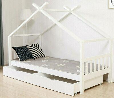 Stauraumbett Jugendbett Hausbett 90x200cm Kinder Bett Kinderbett + 2 Schubladen