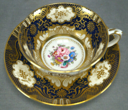 Crown Staffordshire A13727 Pink Rose Floral Cobalt & Gold Tea Cup & Saucer B