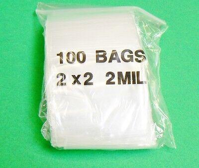 100 Ziplock Bags 2x2 Clear 2mil Zip Reclosable Zipper Bag 2 X 2 100 Baggies