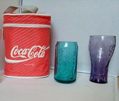 Coca cola cool bag and 2 glasses