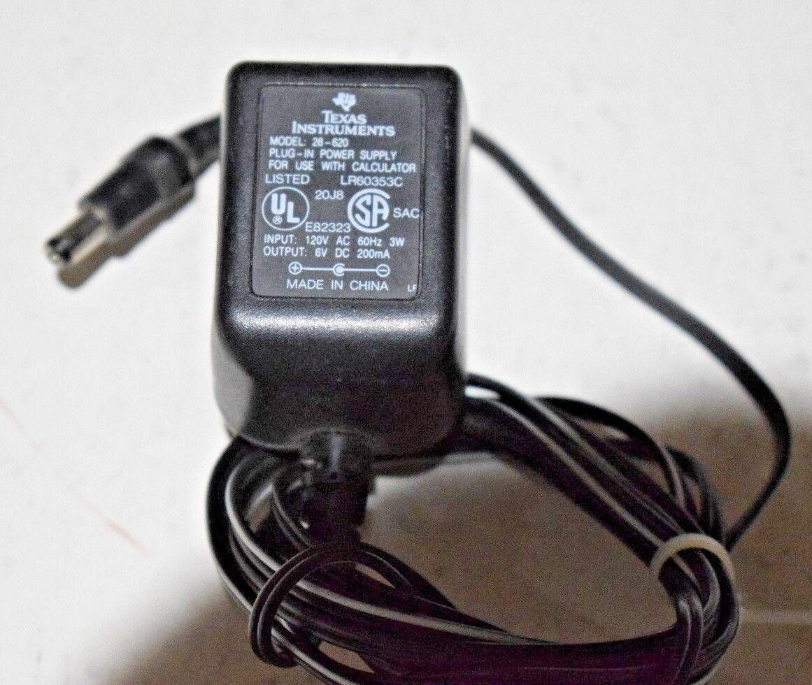 Genuine Texas Instruments 28-620 6V Calculator Power Supply AC Adapter Plug EUC