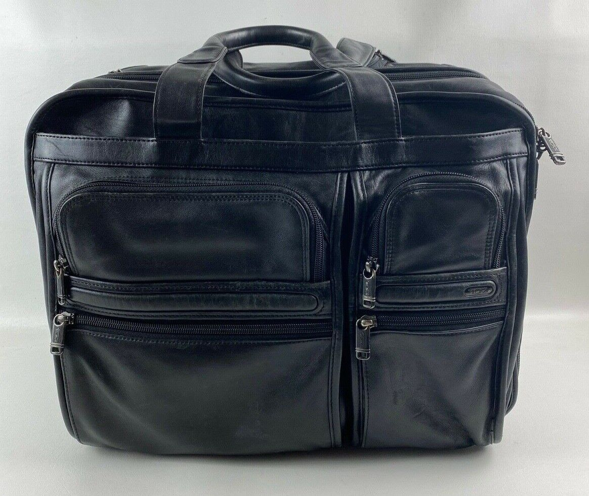 Tumi 96103D4 Leather Expandable Wheeled Rolling Laptop Briefcase Carryon Bag - $99.99