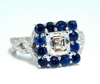 GIA Certified 1.20ct Natural Asscher Cut Diamond Ring 14 Karat Sapphire Halo