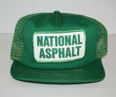 Vintage NATIONAL ASPHALT TRUCKER HAT MADE USA Green Construction Worker - Construction Worker Hat