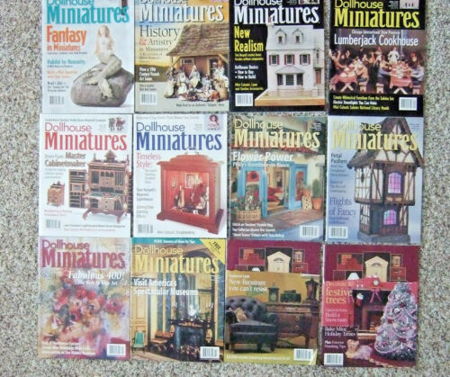 LOT OF 12 DOLLHOUSE MINIATURES MAGAZINES FROM 1999 ENTIRE YEAR GOOD CONDITION