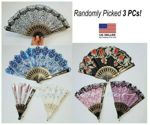 "3 PCs Folding Hand Fan, Lace, Sequined, Flower, Animal Print 8""-9"" *US SELLER*"