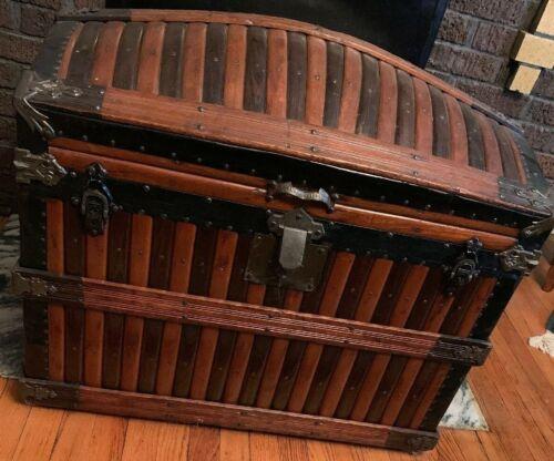 Rare Antique Original Victorian Martin Maier Oak Slat Dome Top Trunk Tray