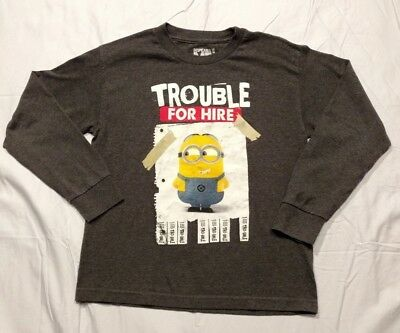 Despicable Me Minion Made Youth Long Sleeve T Shirt  Trouble For Hire  Size M