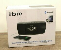 iHome iBT38G Bluetooth Stereo Dual Alarm Clock Radio + USB Charging -1115
