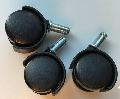 3 Office Chair Replacement Wheels - Black Plastic
