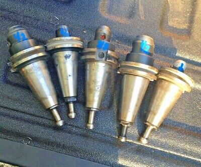5pc 14 38 12 Cat 40 End Mill Holders Lyndex Techniks Cnc Milling Machine