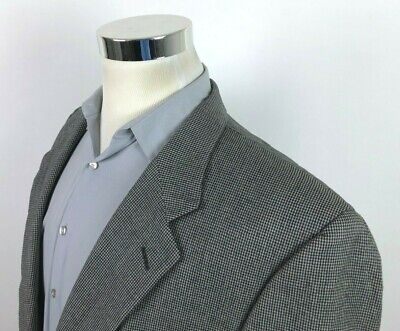 Burberry Mens 46L Gray Black Houndstooth Sport Coat 2 Button Blazer All Wool