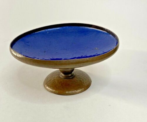 Antique Pairpoint Hammered Copper Compote Enamel GL460 Footed Arts & Crafts