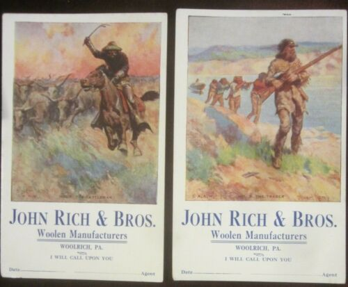 2 Antique Oliver Kemp Illustrated Ink Blotters John Rich and Bros. Woolen