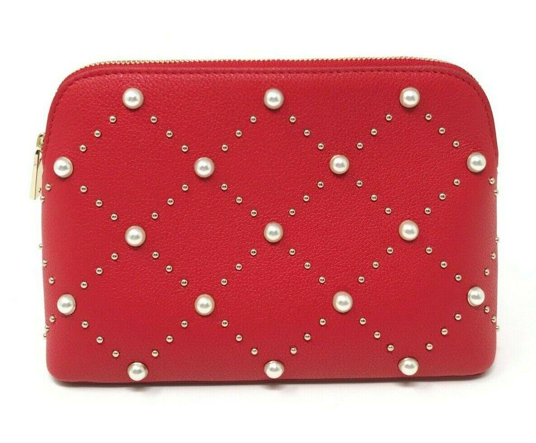 Kate Spade Hayes Street Pearl Small Briley Cosmetic Bag Royal Red PWRU7061 $128