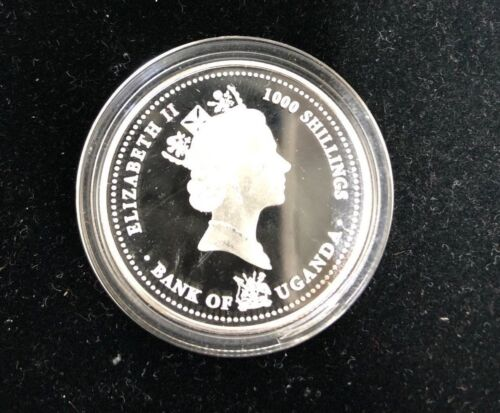 2004 Uganda 1000 Shillings Colored Silver Coin Proof 1/2 oz, OGP