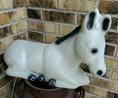 "Vintage Grey Donkey Blow Mold Plastic Lighted For Nativity Set 13"" Long"