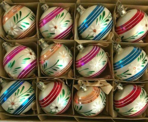 BOX 12 Vtg. Fantasia Pink Gold Red Blue Stripes & Daisies Xmas Ornaments POLAND