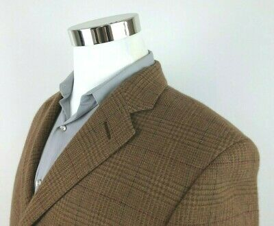 Polo Ralph Lauren Italy Brown Green Red Plaid Sport Coat 3 Button Mens 40R 38 S