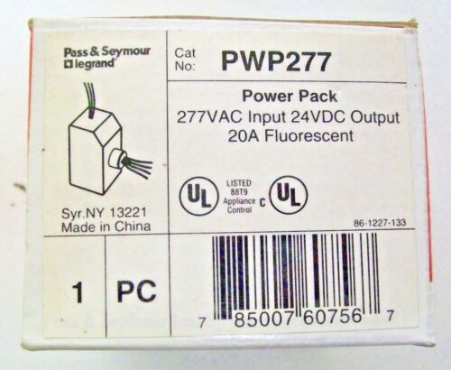 Pass & Seymour PWP-277 Powerpack 277 VAC Input 24 VDC Output 20A Fluorescent NIB