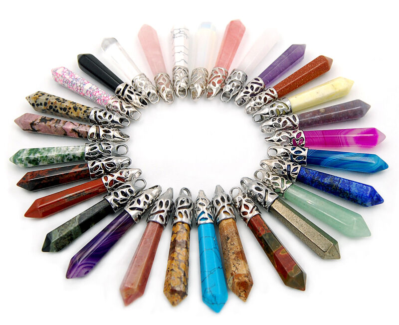 Natural Gemstones Long Hexagonal Pointed Reiki Chakra Pendant Beads Healing