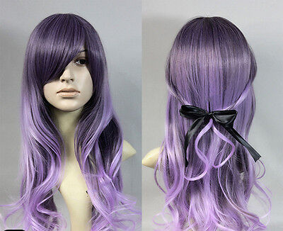 Fashion Long Purple Mixed LOLITA Full Wigs Curly Wavy Hair Cosplay Costume Anime - Purple Hair Costume