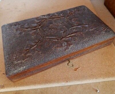 Antique 1930's Colonial Hardwood carved box vine and grape design with key
