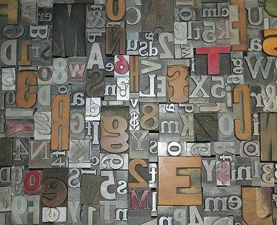 Lot Of 50 Vtg Metal Wood Letterpress Print Type Blocks Alphabet Letters Numbers