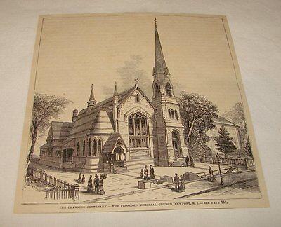 1880 magazine engraving ~ PROPOSED MEMORIAL CHURCH, Newport, RI