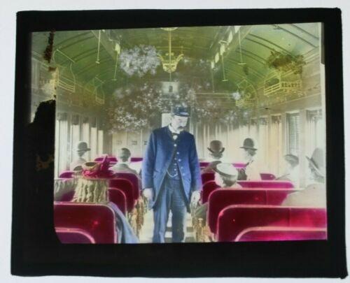 Vintage Train car interior image 1920 glass slide  - free shipping