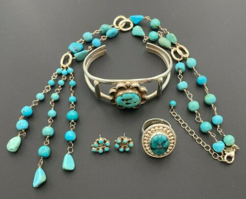 STERLING SILVER 925 TURQUOISE BEAD NECKLACE STUD EARRINGS CUFF BRACELET RING SET