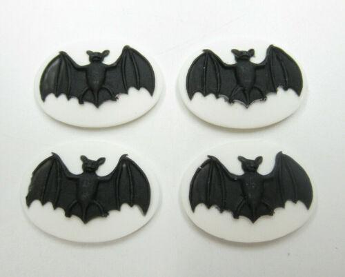 Black Bat Cameos 25X18mm White Oval Cabochons Halloween Goth Steampunk - 4pcs