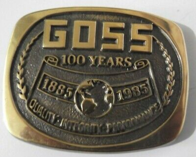 Vintage 1985 Goss 100 Years Brass Belt Buckle by Baker Printing Machines Quality for sale  Shipping to India
