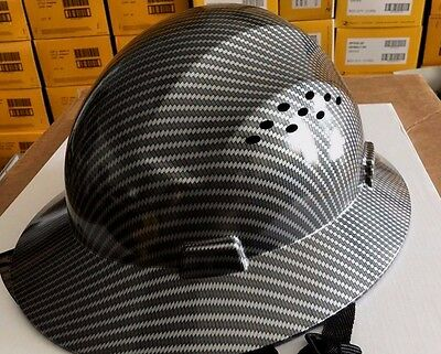 Hdpe Hydro Dipped Black Full Brim Hard Hat With Fas Trac Suspension  Cool Air Fl