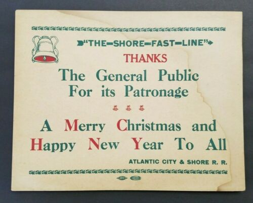 ATLANTIC CITY & SHORE TROLLEY THE SHORE FAST LINE SIGN NOTICE POSTER CHRISTMAS