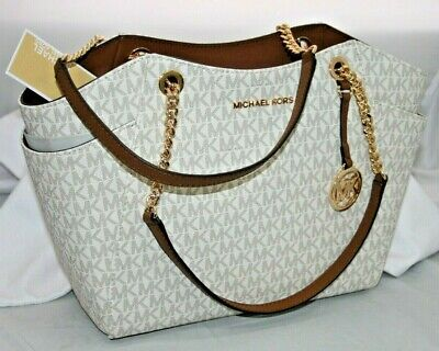 New Michael Kors Jet Set Travel Chain vanilla MK Signature Tote Shoulder Bag