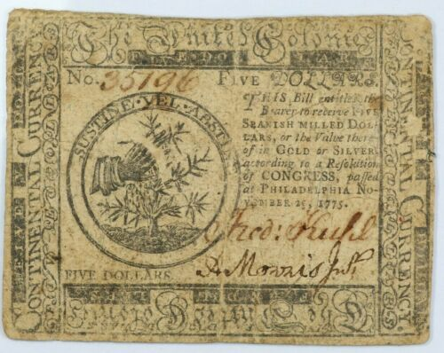 1775 Continental Currency Five Dollars Colonial Note $5 - CC-15