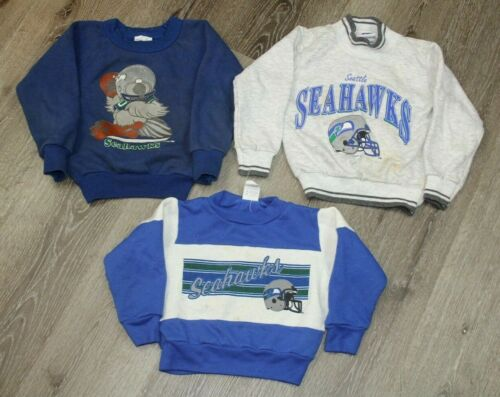 RARE Vintage 80s Seattle Seahawks Crewneck Sweatshirt Lot of 3 Toddler Size 4-5T