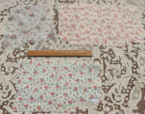 Lot Of 3 Vintage c1920-1930s Cotton Lawn Rose Fabrics~Dolls, Design