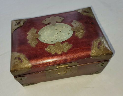 Vintage Chinese Trinket Jewelry Box Wood w Stone Insert Brass Trim Shanghai