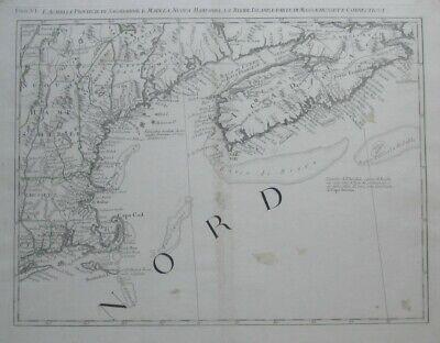 Original 1778 Zatta Map COASTAL NEW ENGLAND Cape Cod Nantucket Casco Bay Acadia