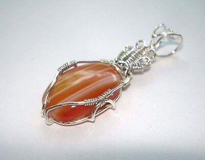 "AB Orange White Stripe Botswana Agate .925 Sterling Silver Pendant Necklace 2"""